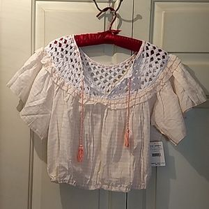 Free People NWT ALLORA 🍑 peach blouse size small